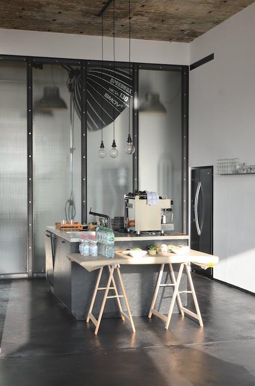 Arranged food on kitchen counter in studio
