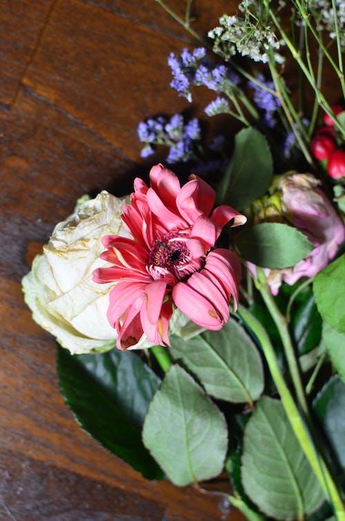 茶色の木製テーブルにピンクと白の花