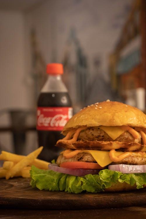 Photos gratuites de aliments, burger, coca cola