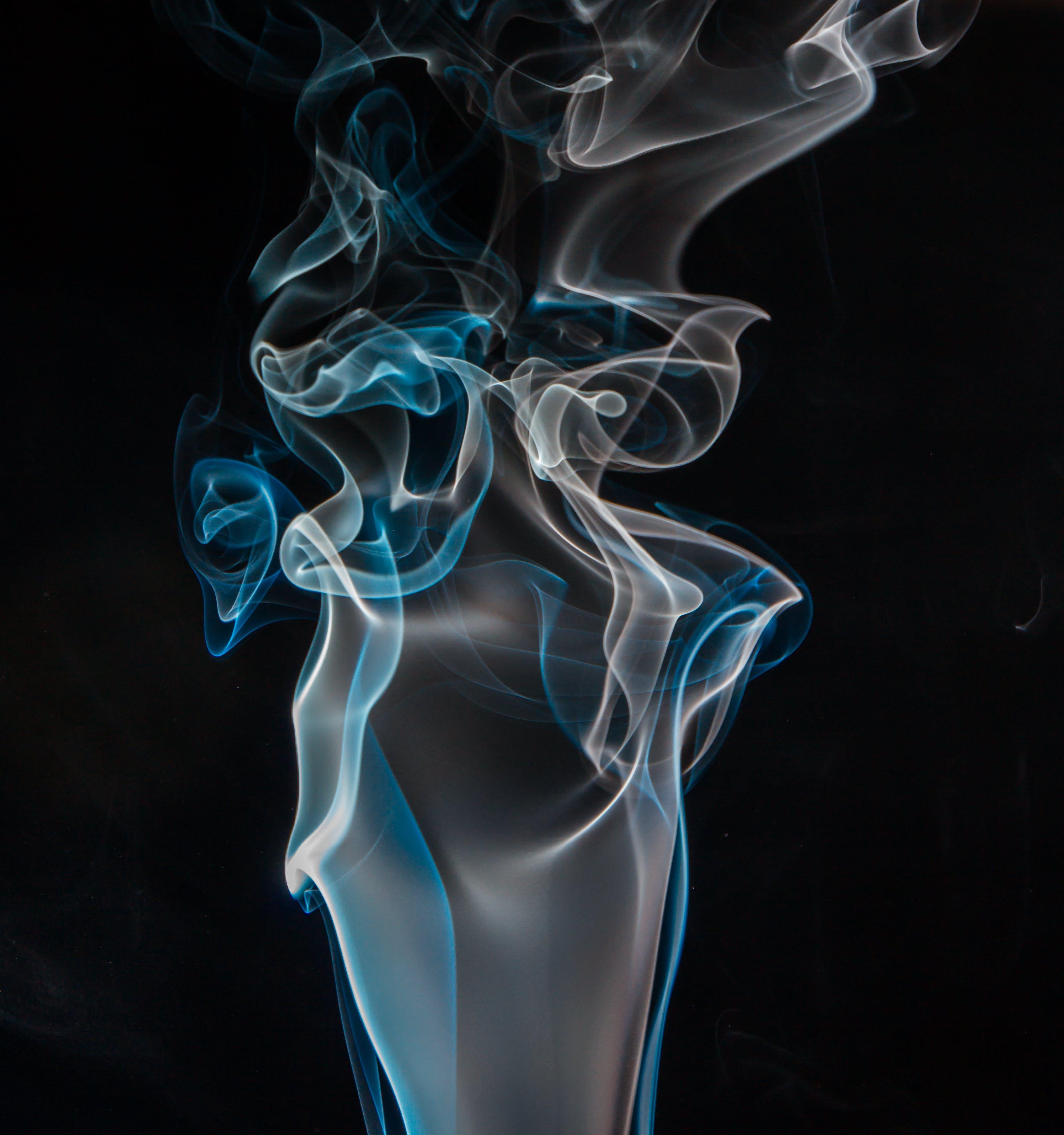 Blue and White Smoke Digital Wallpaper