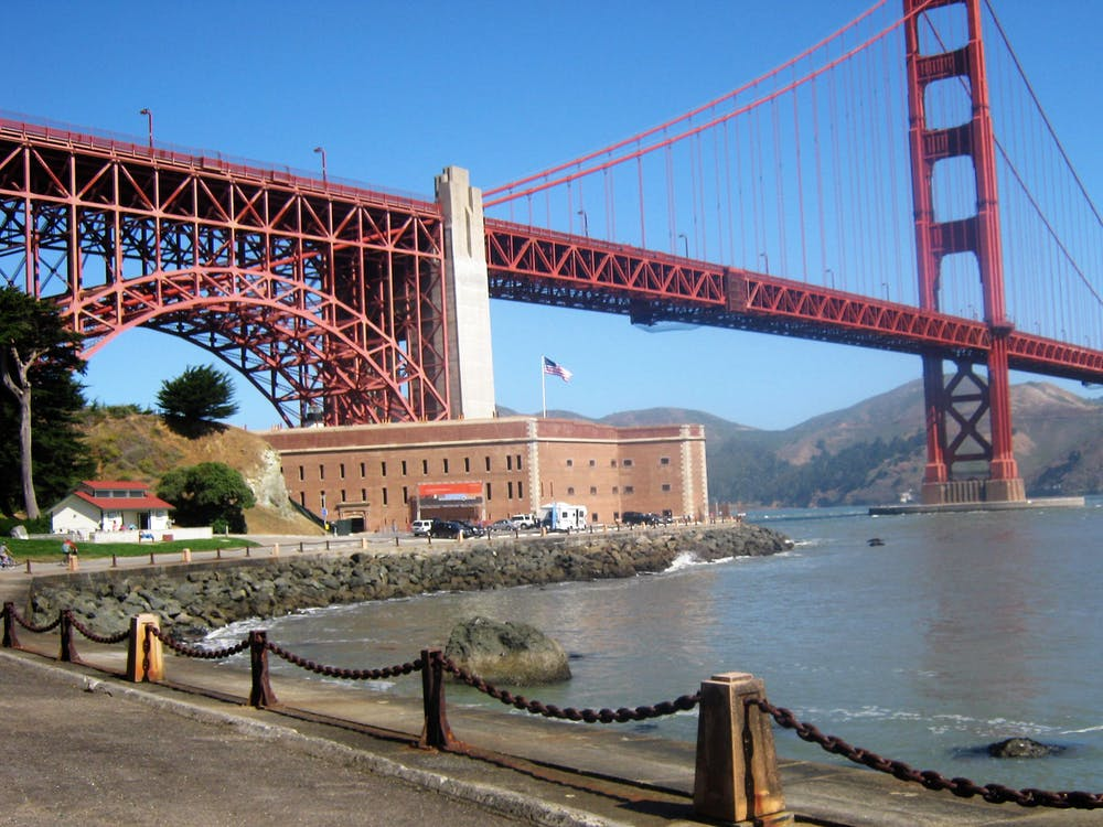 Free stock photo of Fort Point, golden gate bridge, san francisco bay