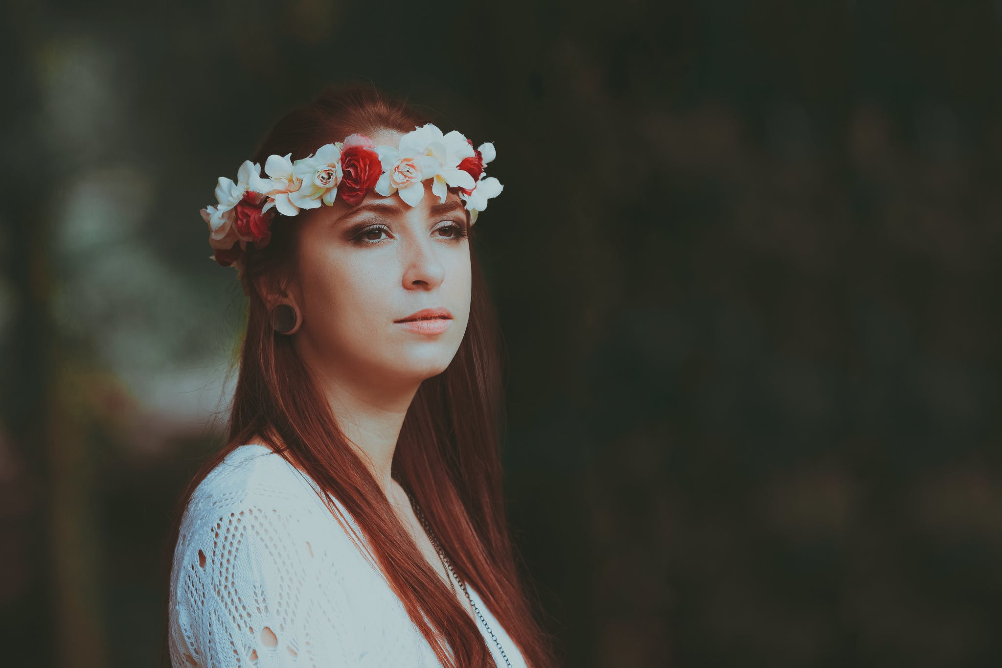 Macro Shot of Woman Standing Outdoors