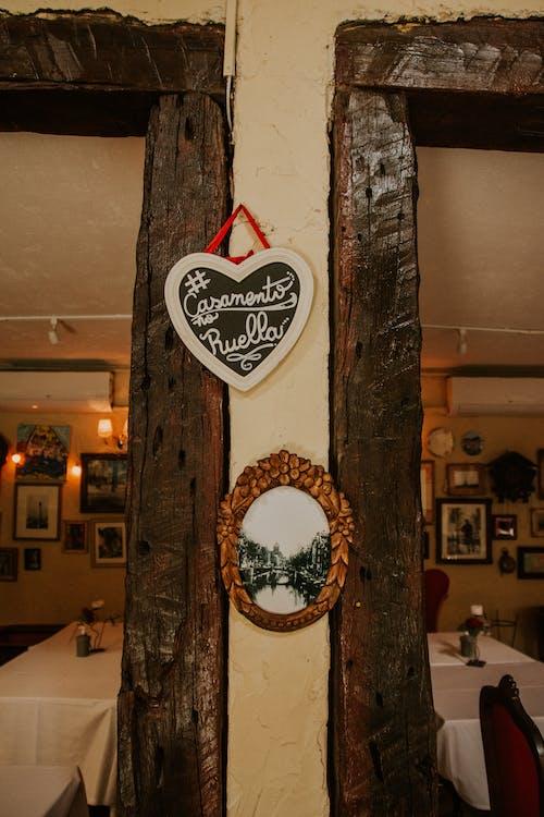 Cozy cafe with wooden doorway