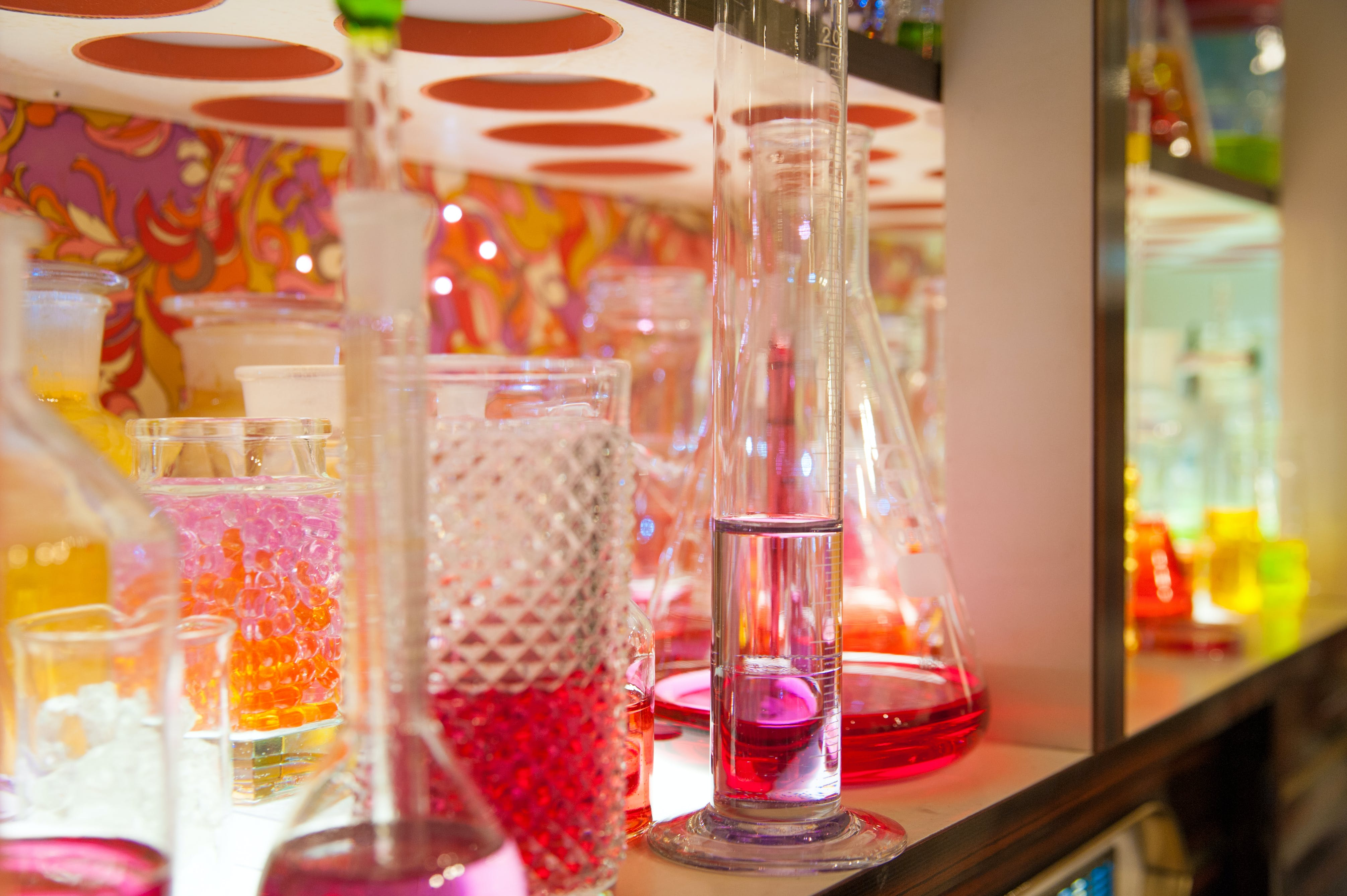 colorful, colourful, erlenmeyer flask