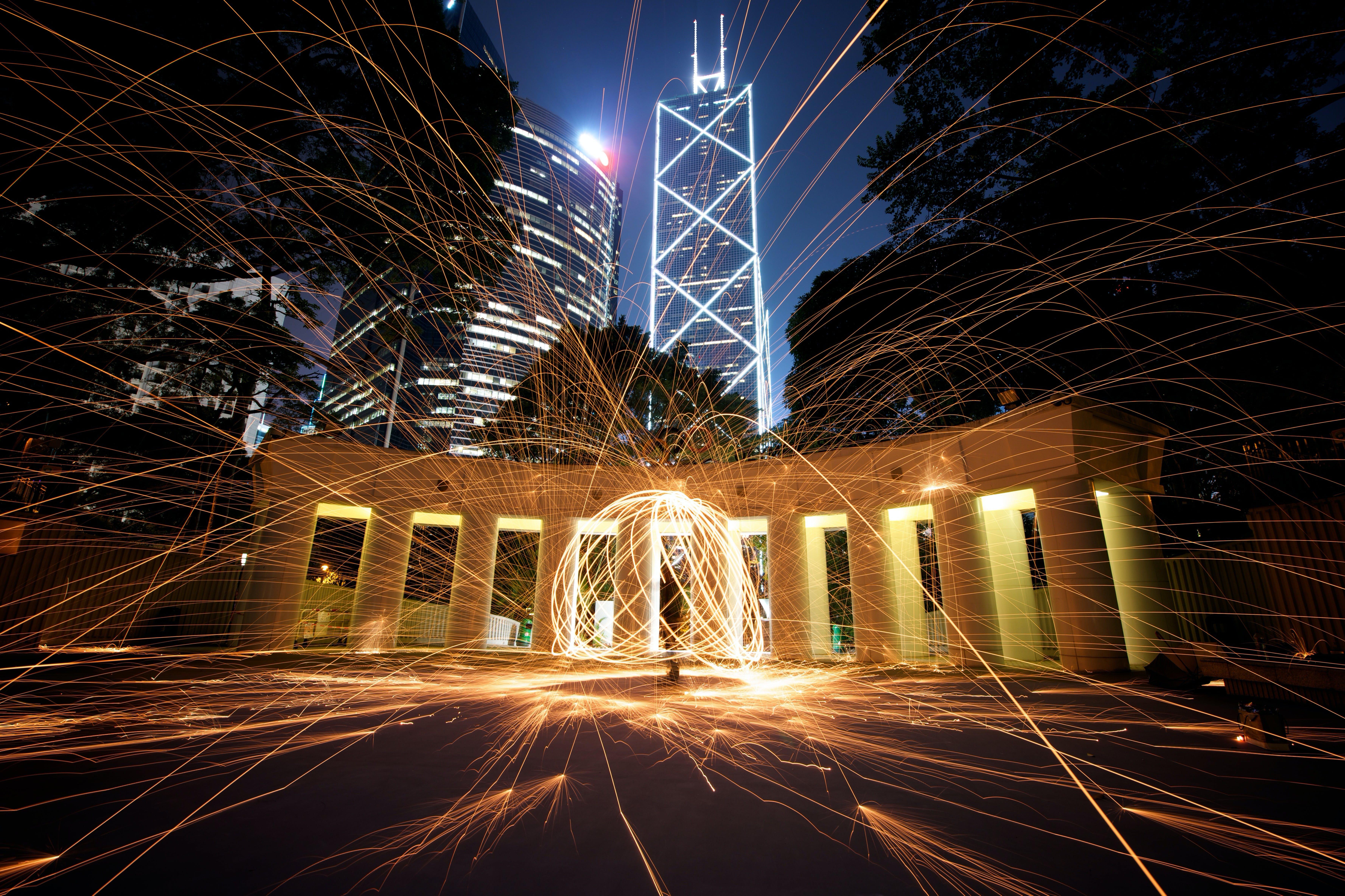 gece, ışıklar, uzun pozlama içeren Ücretsiz stok fotoğraf