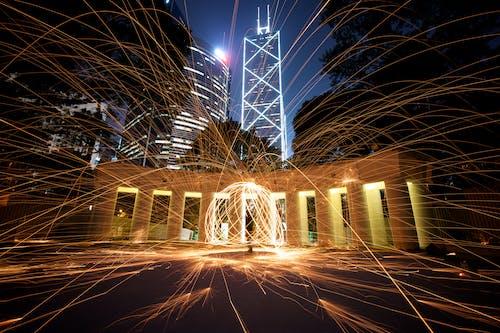 Бесплатное стоковое фото с длинная экспозиция, ночь, огни