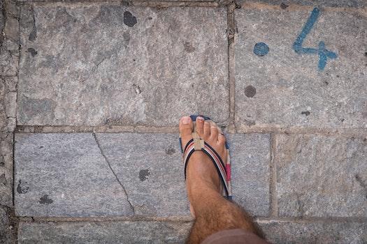Free stock photo of walking, summer, foot, tiles