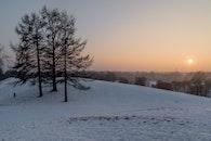 schnee, stadt, landschaft