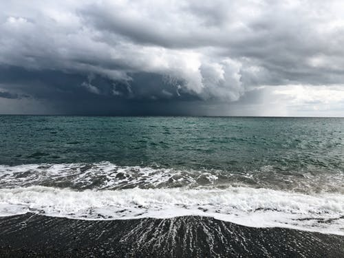 Breathtaking seascape with foamy waves and cloudy sky