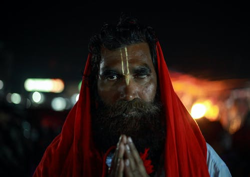 Indian man in traditional clothes on street