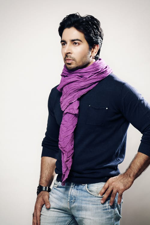 Man Wearing Purple Scarf