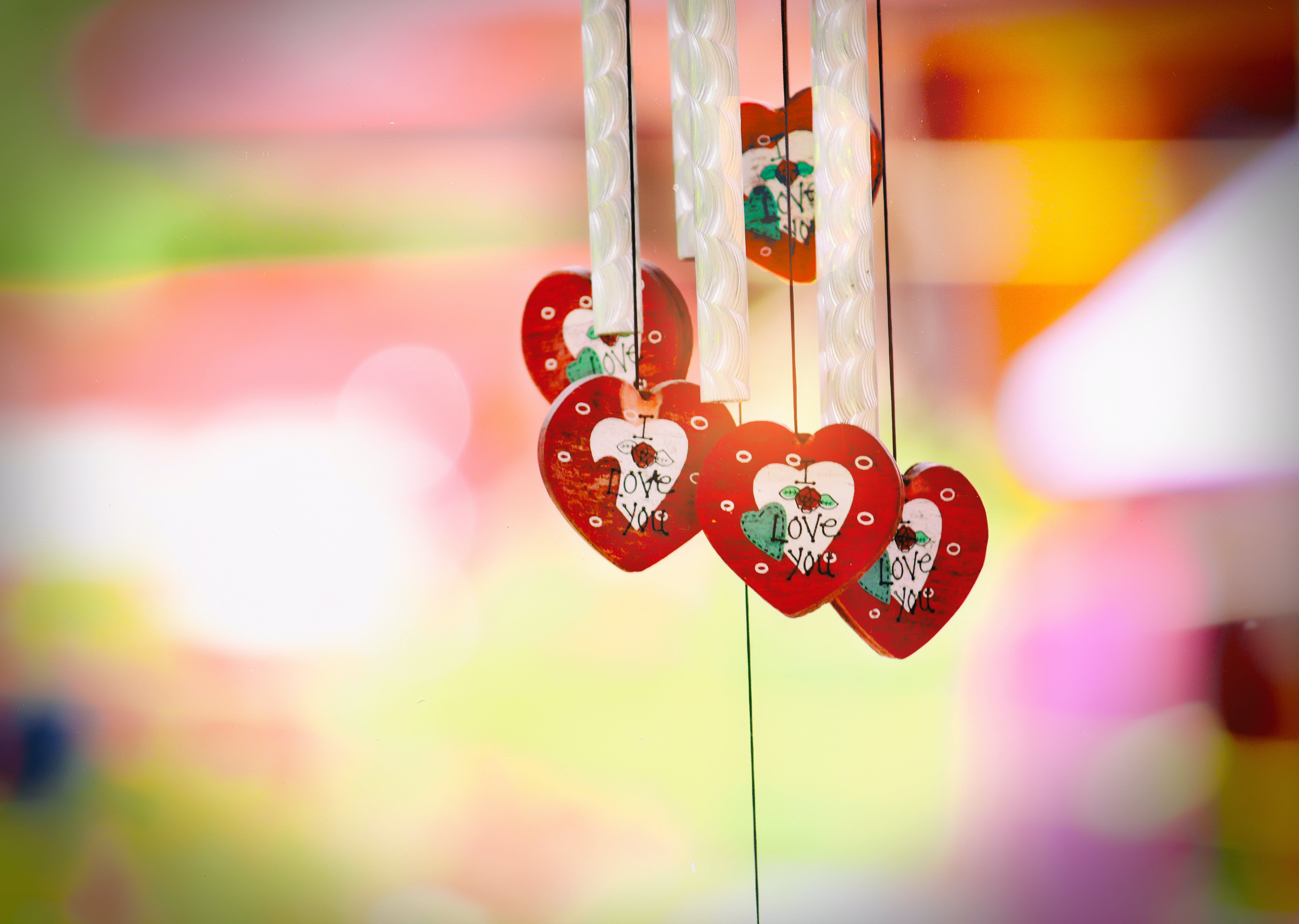 Red and White Heart Windchime