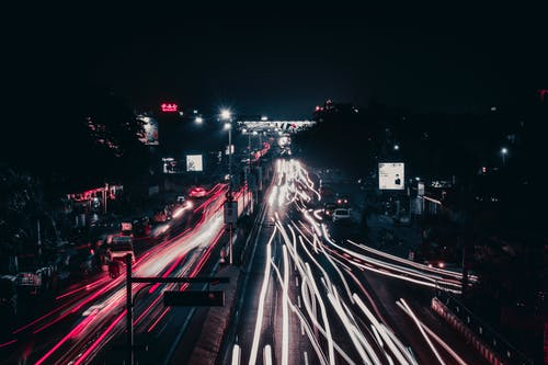 Time-Lapse Photography of Vehicles on a Road during the Night