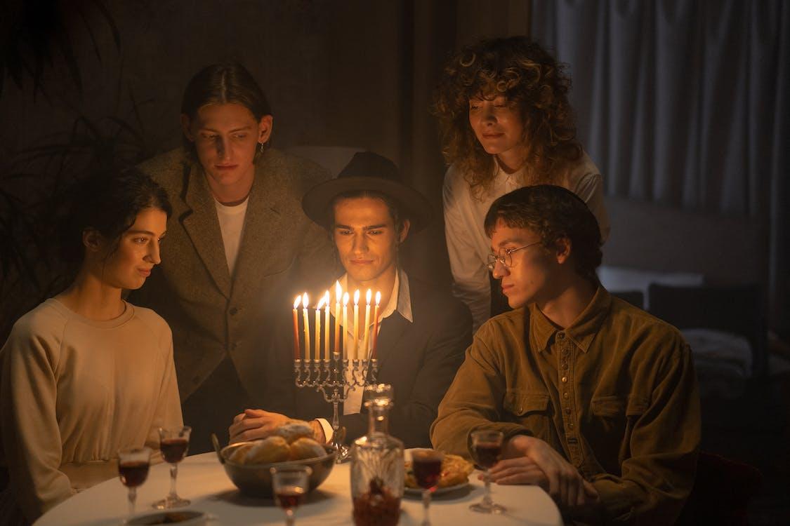 Family Celebrating Hanukkah