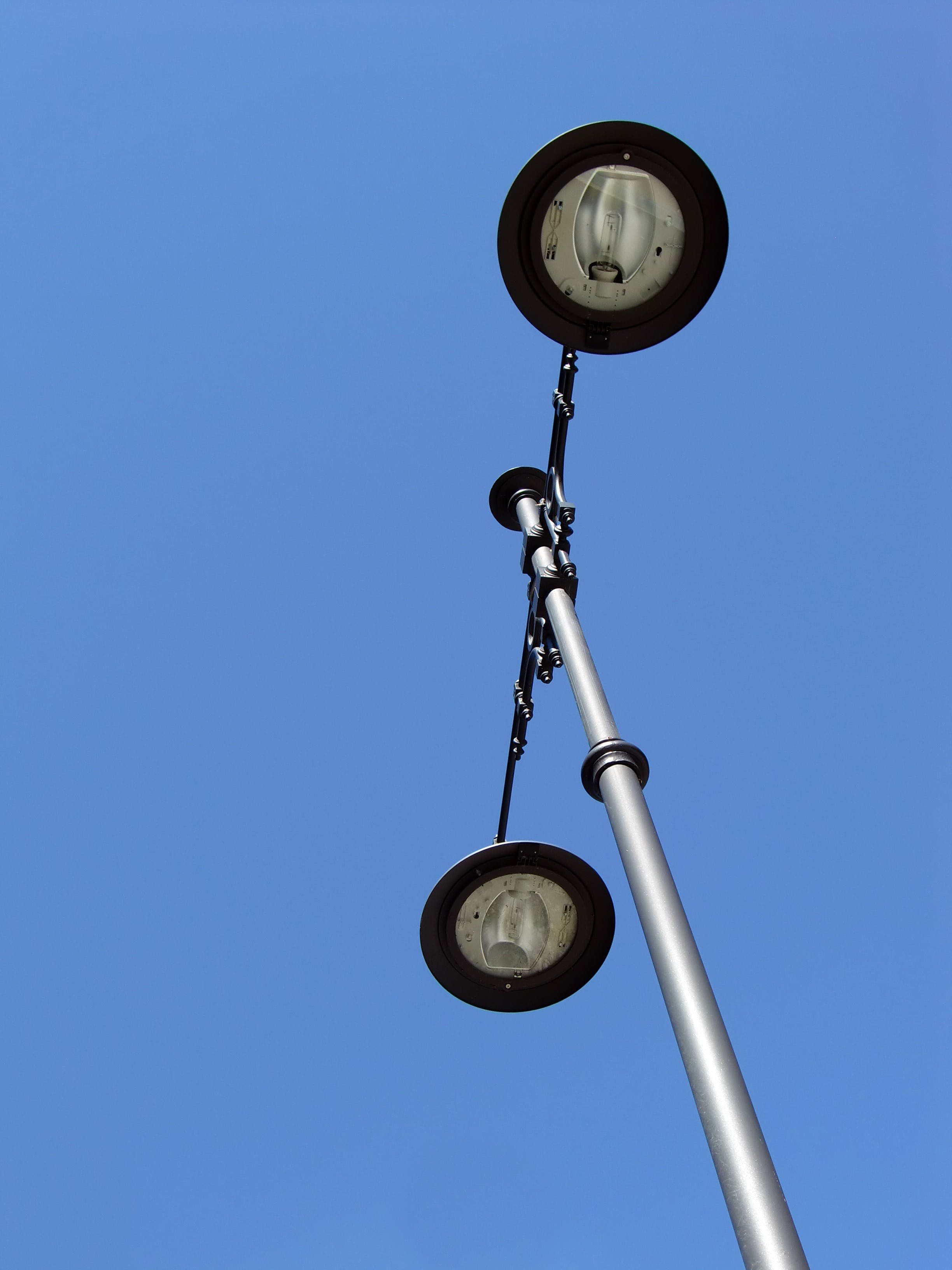 Black and Silver Street Lamp Post