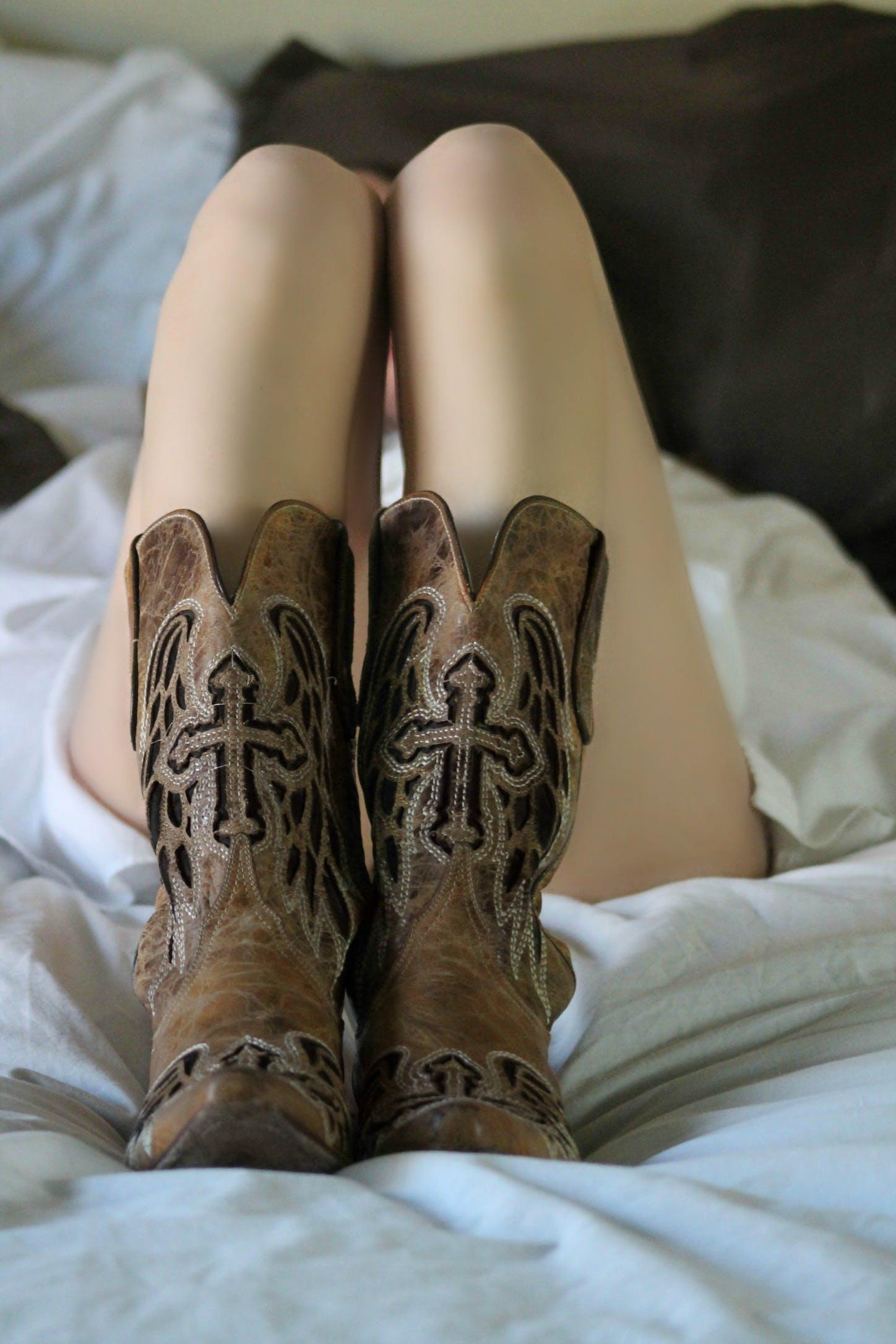 beine, cowgirl, frau