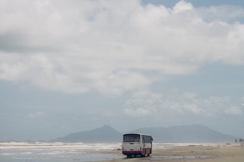 Free stock photo of beach, old bus