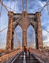 people, walking, bridge