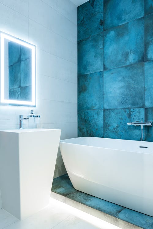 Modern bathroom with bright glowing illumination