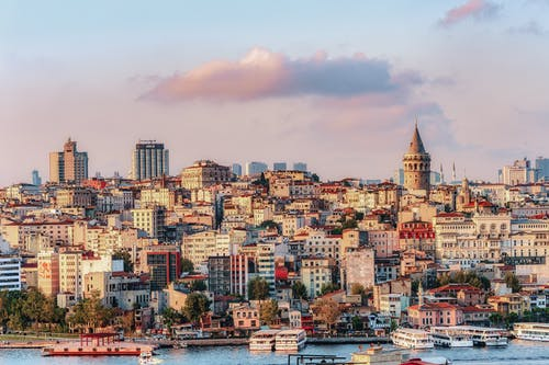 Istanbul Cityscape In Turkey With Galata Tower