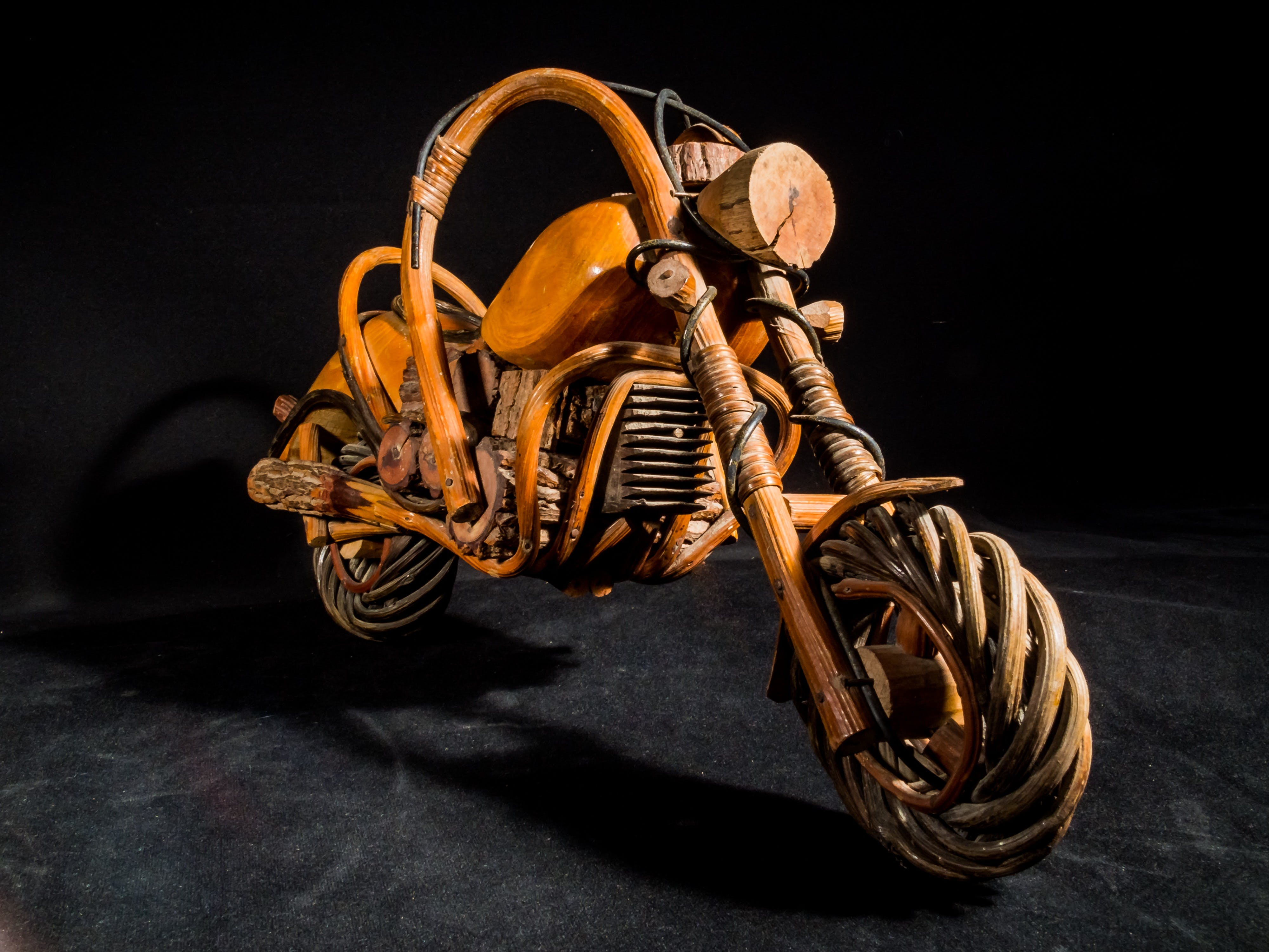Brown Wooden Chopper Motorcycle Scale Model