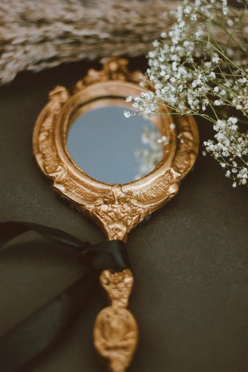 Gold and White Floral Frame Mirror