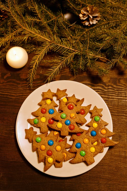 Top View of Christmas Tree Shaped Cookies on a Plate