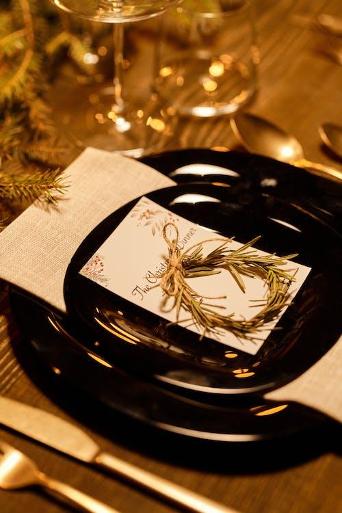 Tarjeta De Cena De Navidad En Un Plato