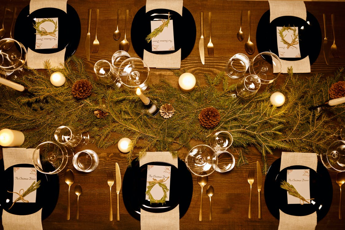Top View of an Elegant Table Set-Up for Christmas