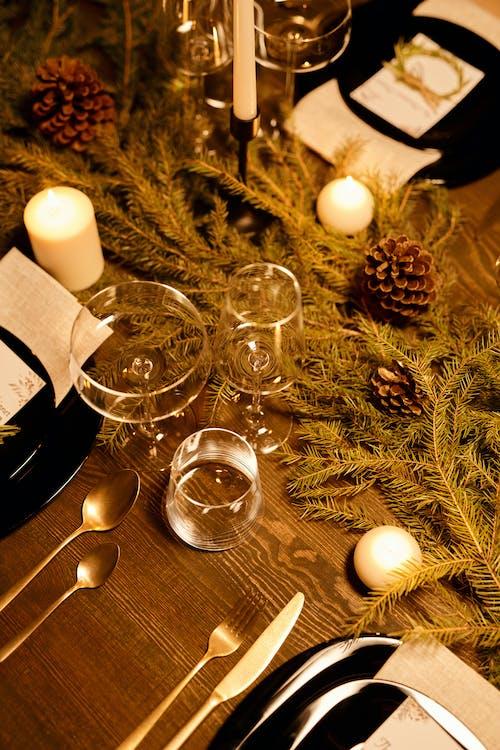 High Angle Shot of an Elegant Table Set-Up for Christmas