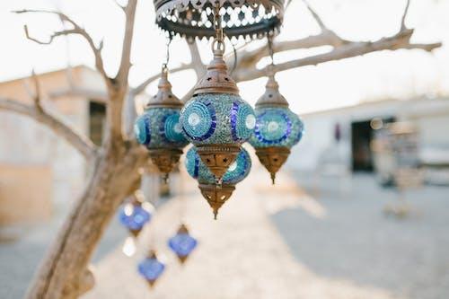 Oriental glass lanterns hanging on leafless tree