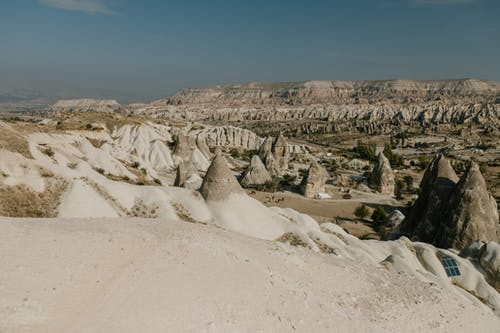 Rocky formations on vast high plateau