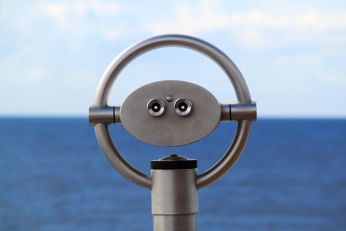Grey Telescope by the Sea