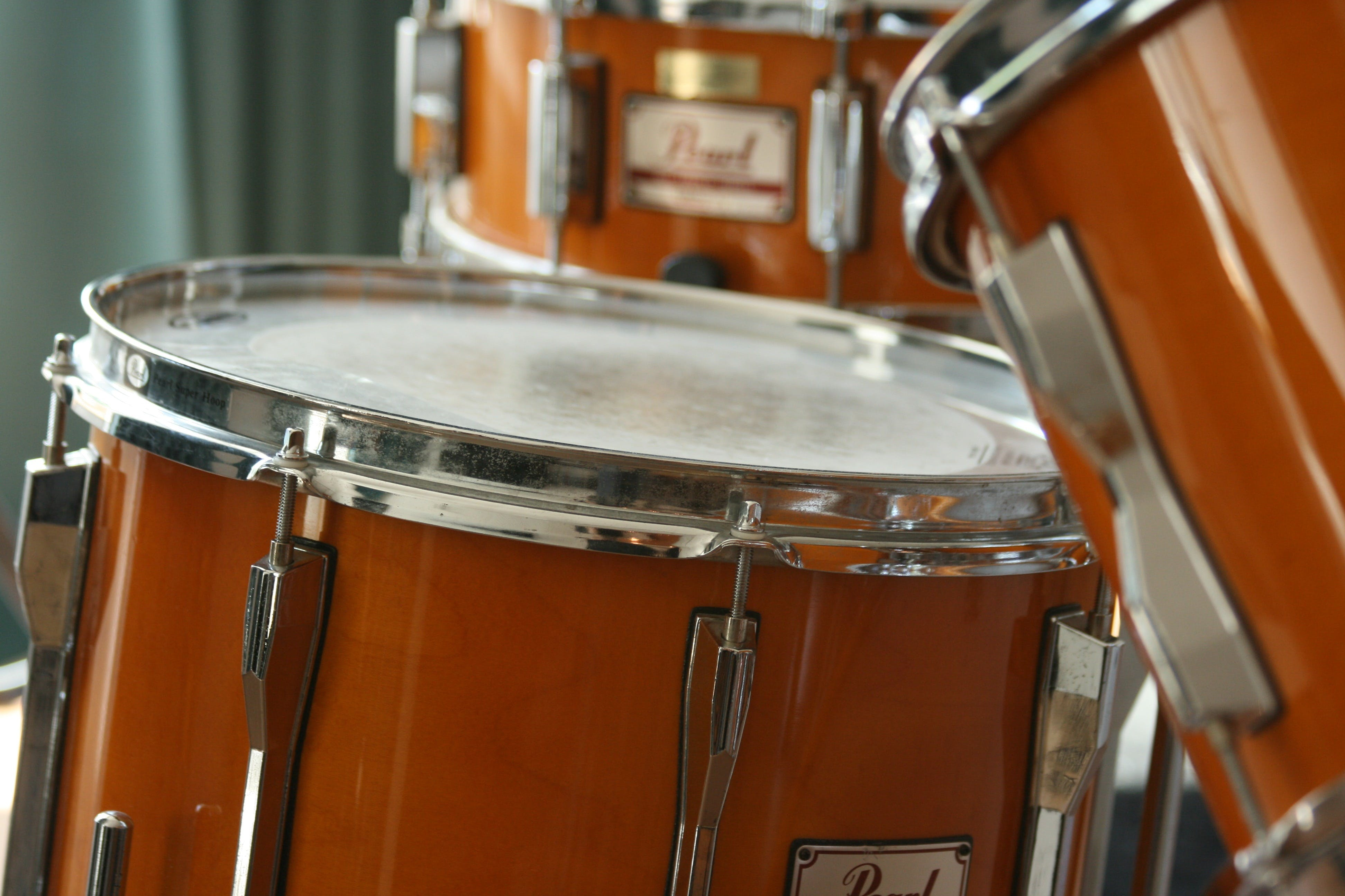 Pearl Orange Drumset in Tilt Shift Lens