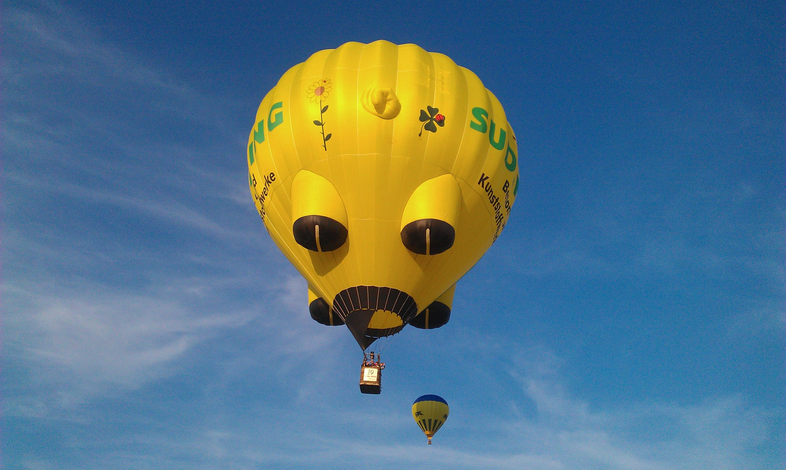 Yellow and Black Hot Air Balloons on Mid Air Under White Clouds Blue Sky during Daytime