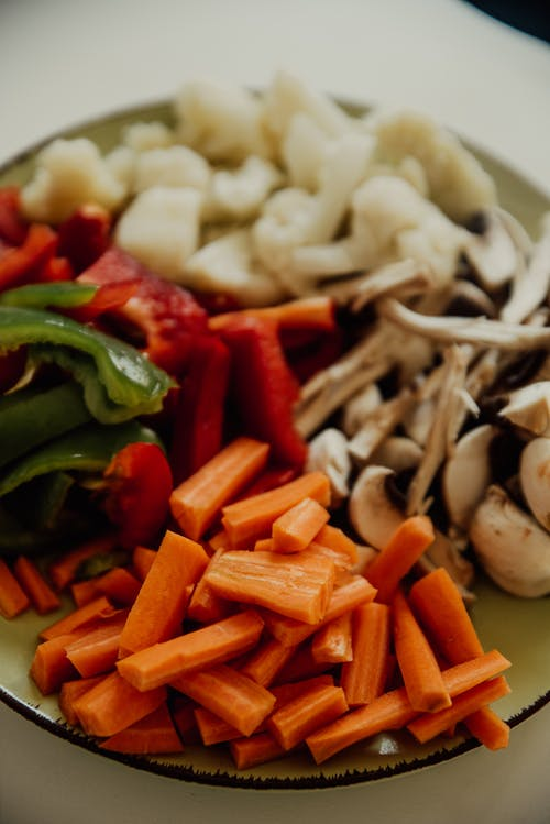 Fresh Cut Vegetables on a Plate