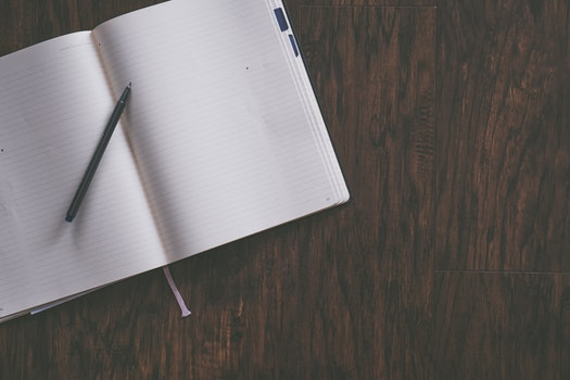 Free stock photo of desk, notebook, pen, table