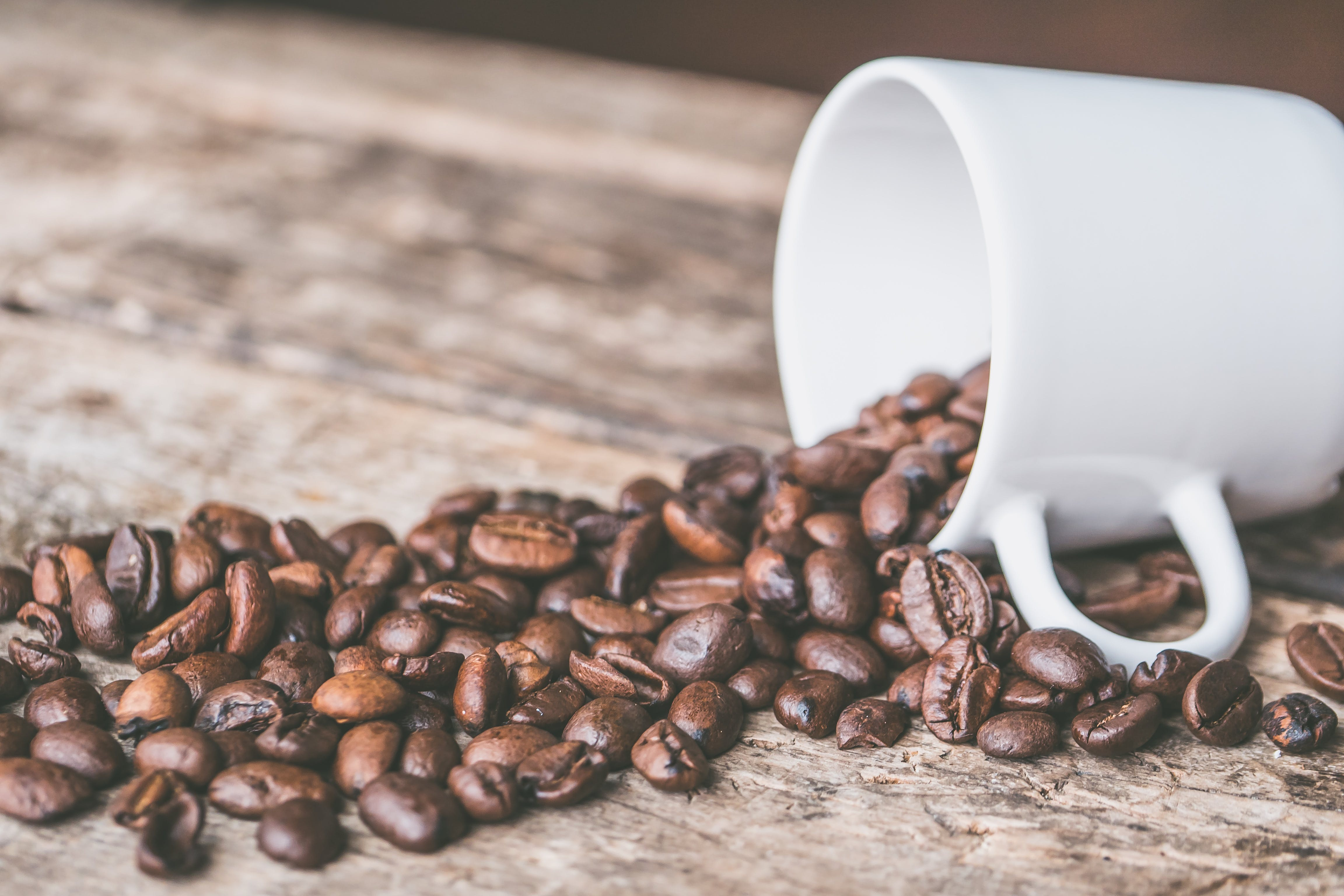 Coffee Beans and White Mug