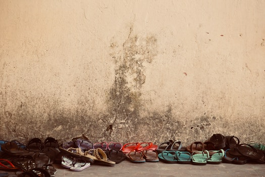 Free stock photo of wall, yellow, shoe, object