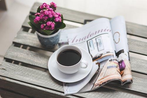 Foto stok gratis baca, bunga, kopi, koran