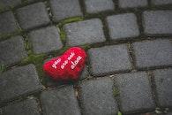 red, heart, moss