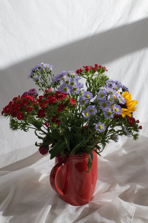 Bouquet of fresh wildflowers placed in ceramic red vase on white background in light room at floor
