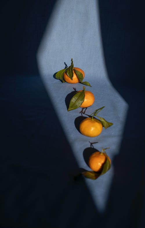 From above composition of ripe organic tangerines arranged in row on dark blue fabric background in sunlight
