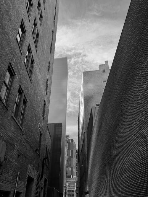 Free stock photo of alleyway, architectural building, black and white city