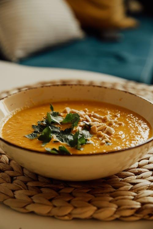 Soup Dish in White Ceramic Bowl