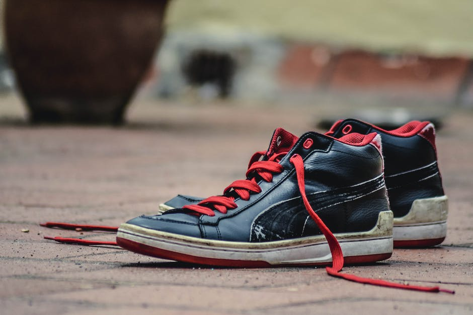 Black and Red Leather Puma Lace Up High Top Shoes