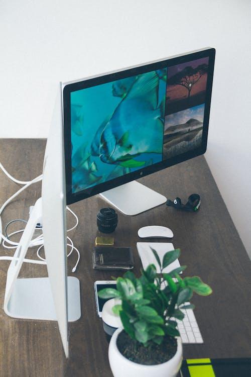 apple, bureau, clavier