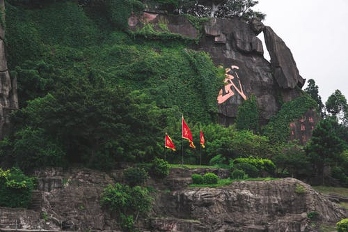Mountain range with plants and national flags in summer