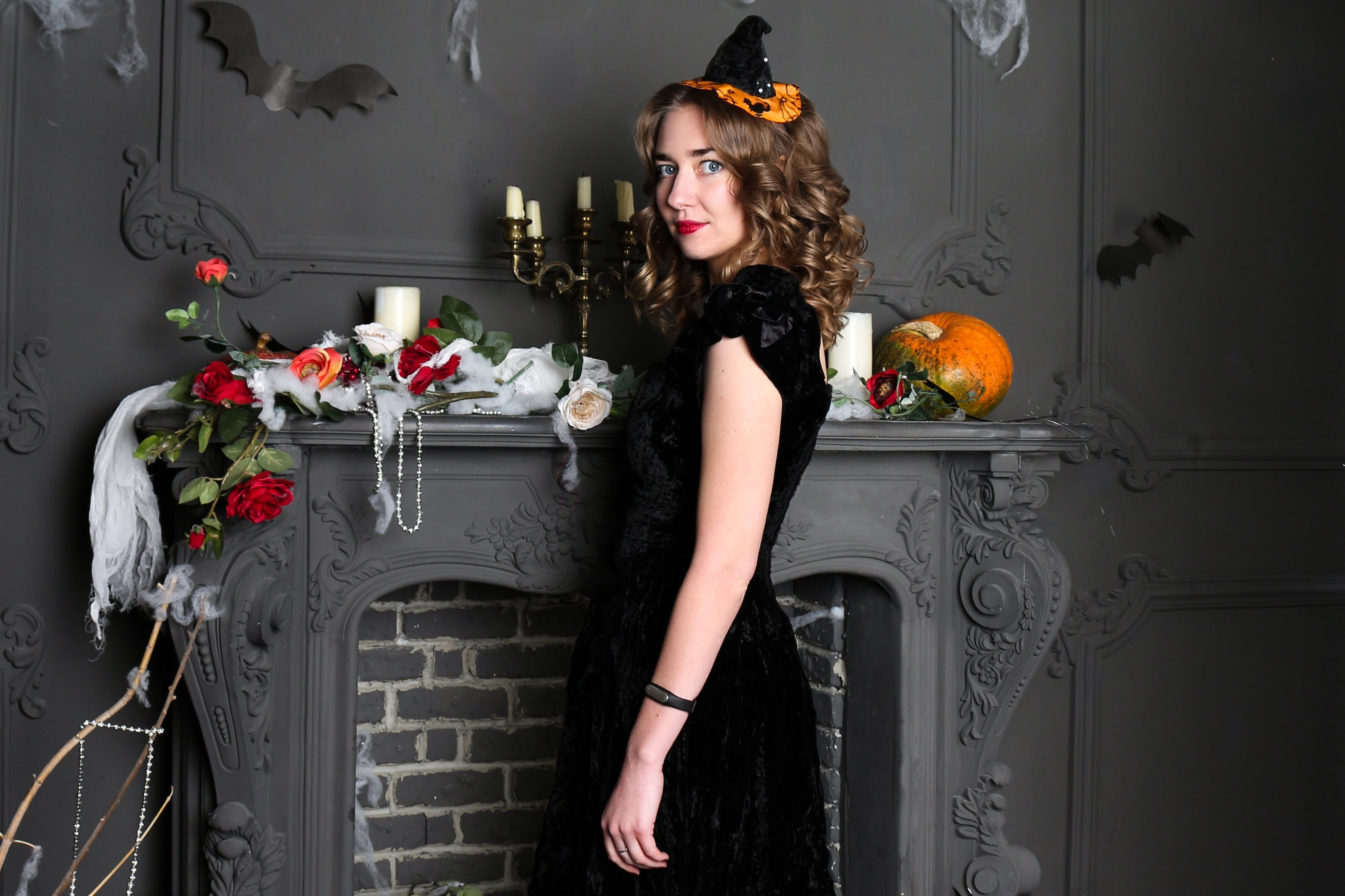 Woman Wearing Black Dress for Halloween Party