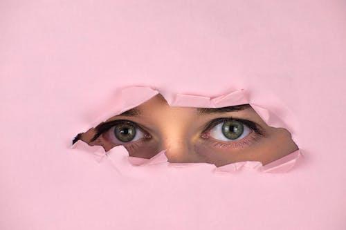 Womans Face on White Textile